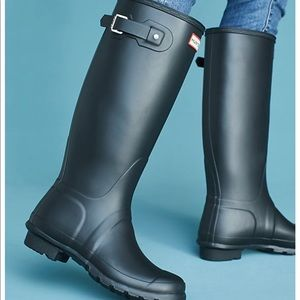 Hunter Original Tall Waterproof Rain Boot Blue